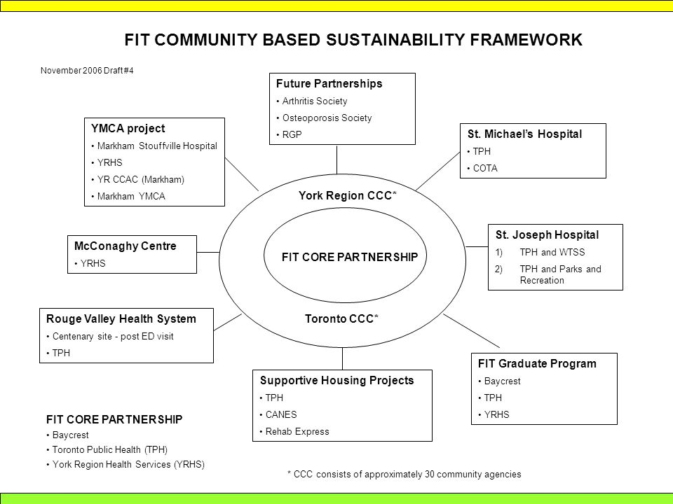 FIT COMMUNITY BASED SUSTAINABILITY FRAMEWORK FIT CORE PARTNERSHIP York Region CCC* Toronto CCC* * CCC consists of approximately 30 community agencies FIT CORE PARTNERSHIP Baycrest Toronto Public Health (TPH) York Region Health Services (YRHS) Future Partnerships Arthritis Society Osteoporosis Society RGP YMCA project Markham Stouffville Hospital YRHS YR CCAC (Markham) Markham YMCA McConaghy Centre YRHS Rouge Valley Health System Centenary site - post ED visit TPH Supportive Housing Projects TPH CANES Rehab Express FIT Graduate Program Baycrest TPH YRHS St.