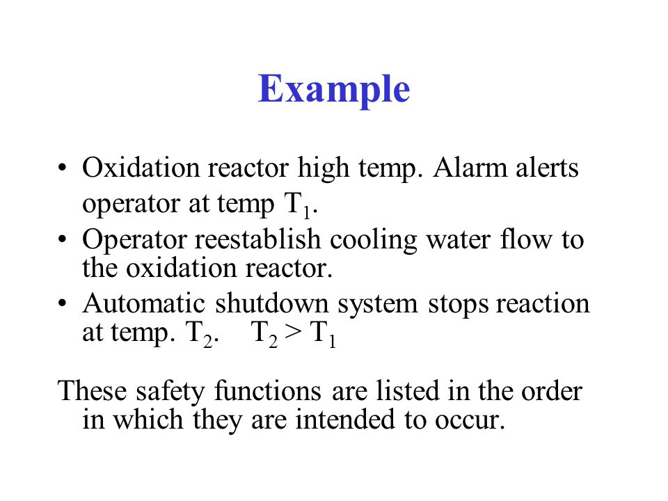 Example Oxidation reactor high temp.Alarm alerts operator at temp T 1.