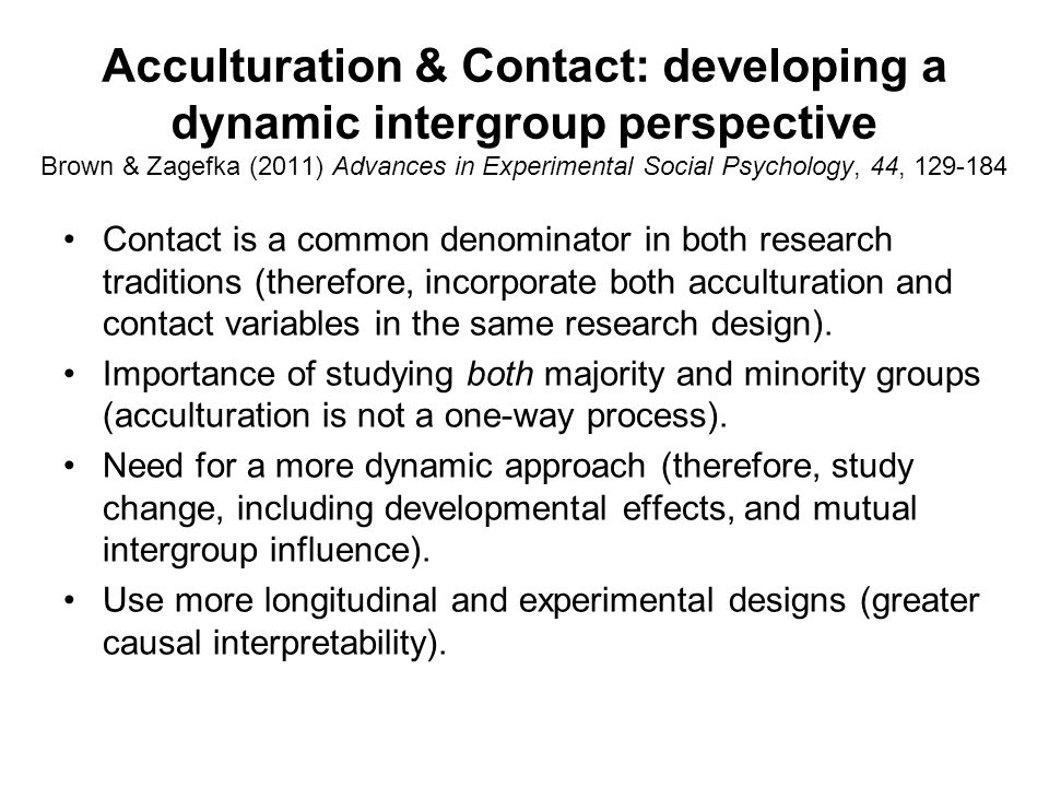 Contact, norms and acculturation attitudes Gonzalez, Zagefka, Brown et al.