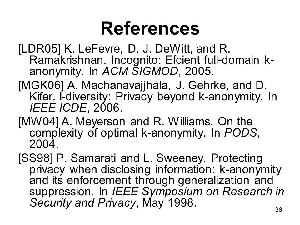 36 References [LDR05] K. LeFevre, D. J. DeWitt, and R.
