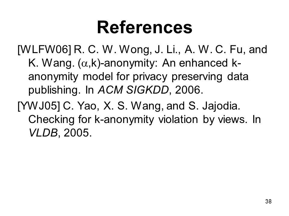 38 References [WLFW06] R. C. W. Wong, J. Li., A.