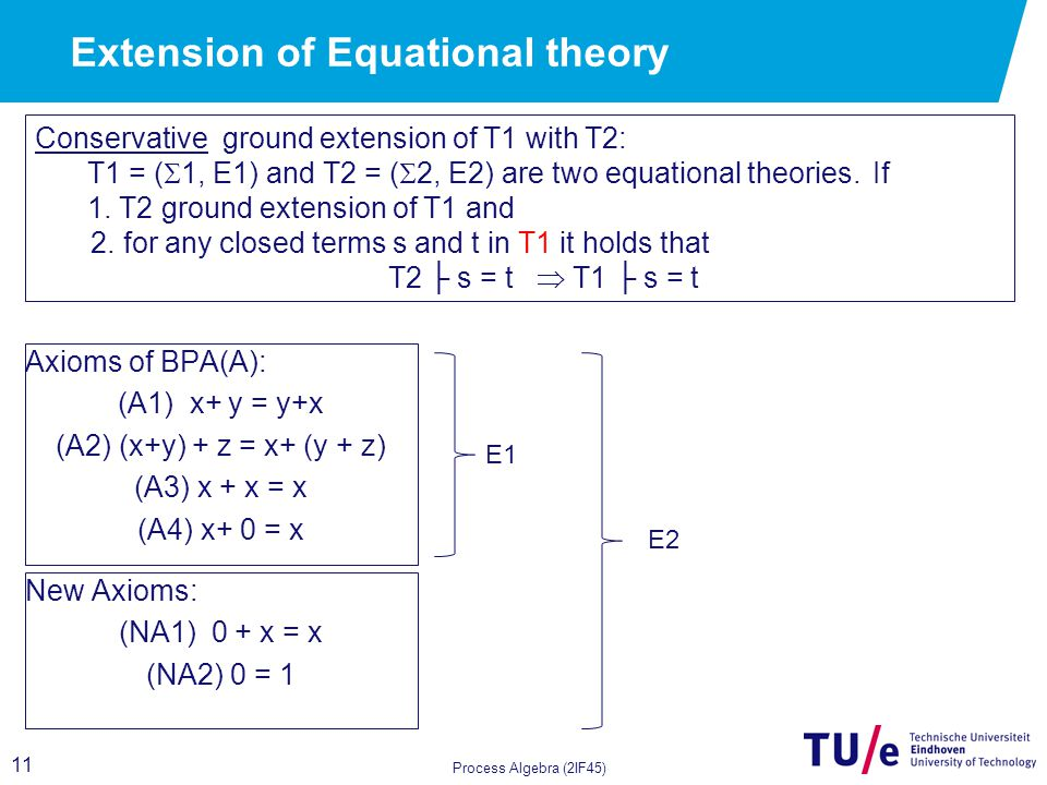 11 Process Algebra (2IF45) Conservative ground extension of T1 with T2: T1 = (  1, E1) and T2 = (  2, E2) are two equational theories.