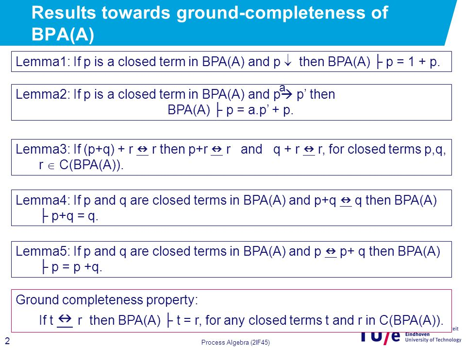 13 Extension of BPA(A) with Projection operators - Intuition what we want this operators to capture Process Algebra (2IF45)