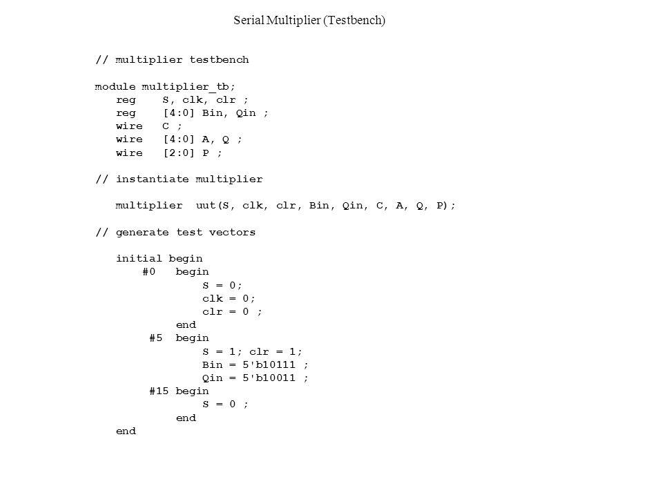 Serial Multiplier (Testbench) // multiplier testbench module multiplier_tb; reg S, clk, clr ; reg [4:0] Bin, Qin ; wire C ; wire [4:0] A, Q ; wire [2: