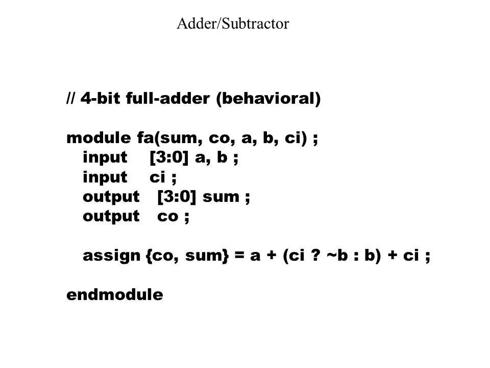 Adder/Subtractor // 4-bit full-adder (behavioral) module fa(sum, co, a, b, ci) ; input [3:0] a, b ; input ci ; output [3:0] sum ; output co ; assign {