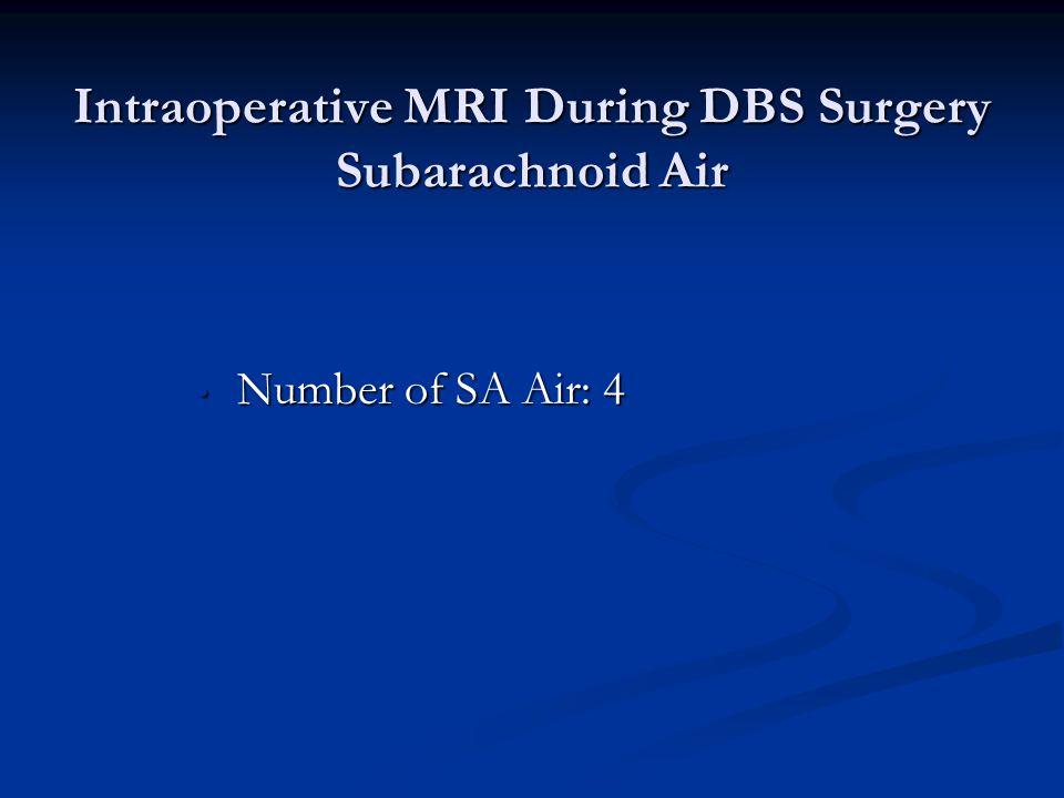 Intraoperative MRI During DBS Surgery Subarachnoid Air Number of SA Air: 4 Number of SA Air: 4