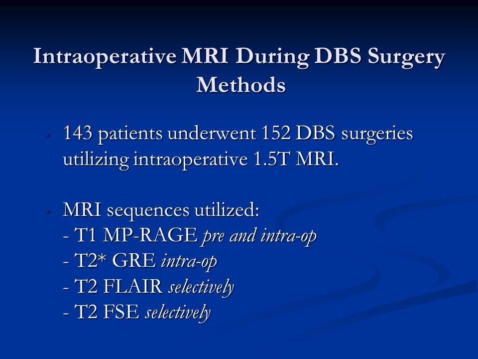 Intraoperative MRI During DBS Surgery Methods 143 patients underwent 152 DBS surgeries utilizing intraoperative 1.5T MRI. 143 patients underwent 152 D
