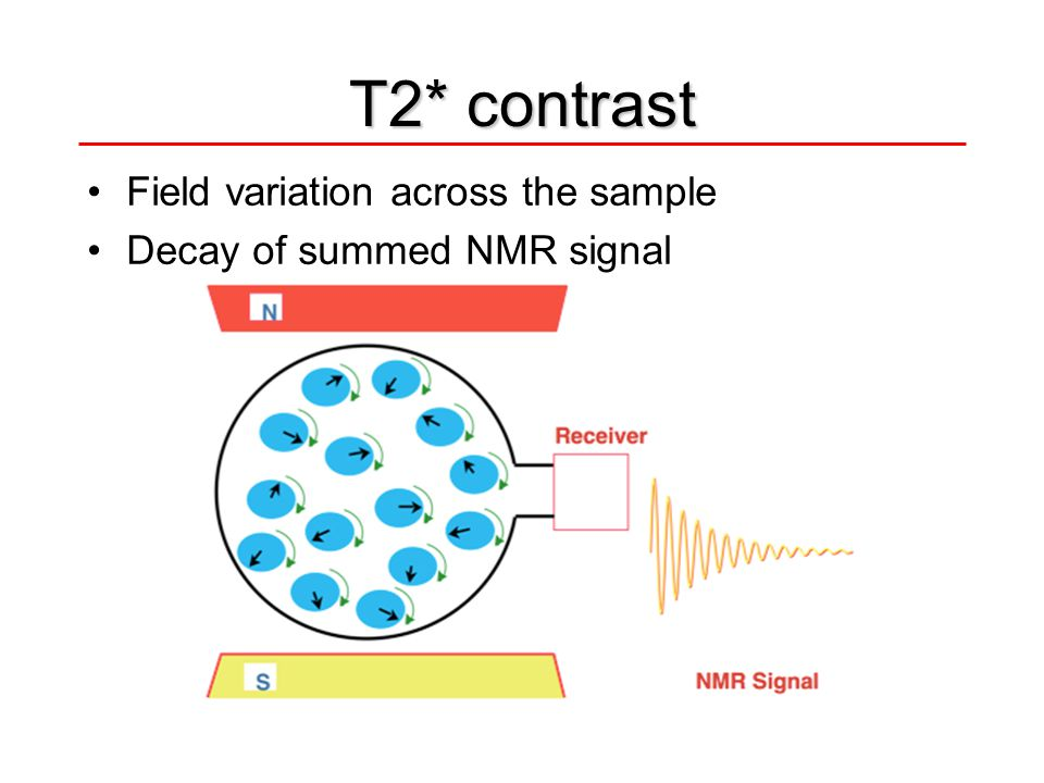 Field variation across the sample Decay of summed NMR signal