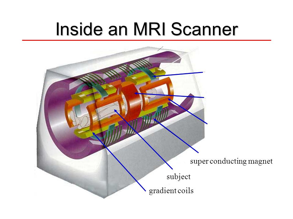 Inside an MRI Scanner subject super conducting magnet x gradient coil z gradient coil r.f. transmit/receive gradient coils