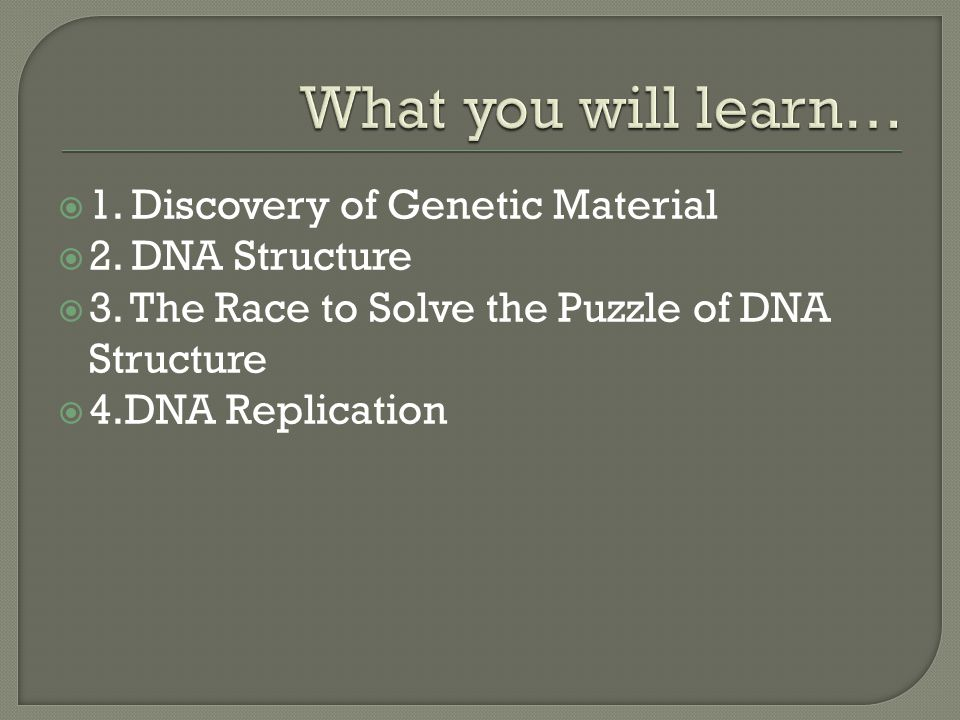  1. Discovery of Genetic Material  2. DNA Structure  3. The Race to Solve the Puzzle of DNA Structure  4.DNA Replication