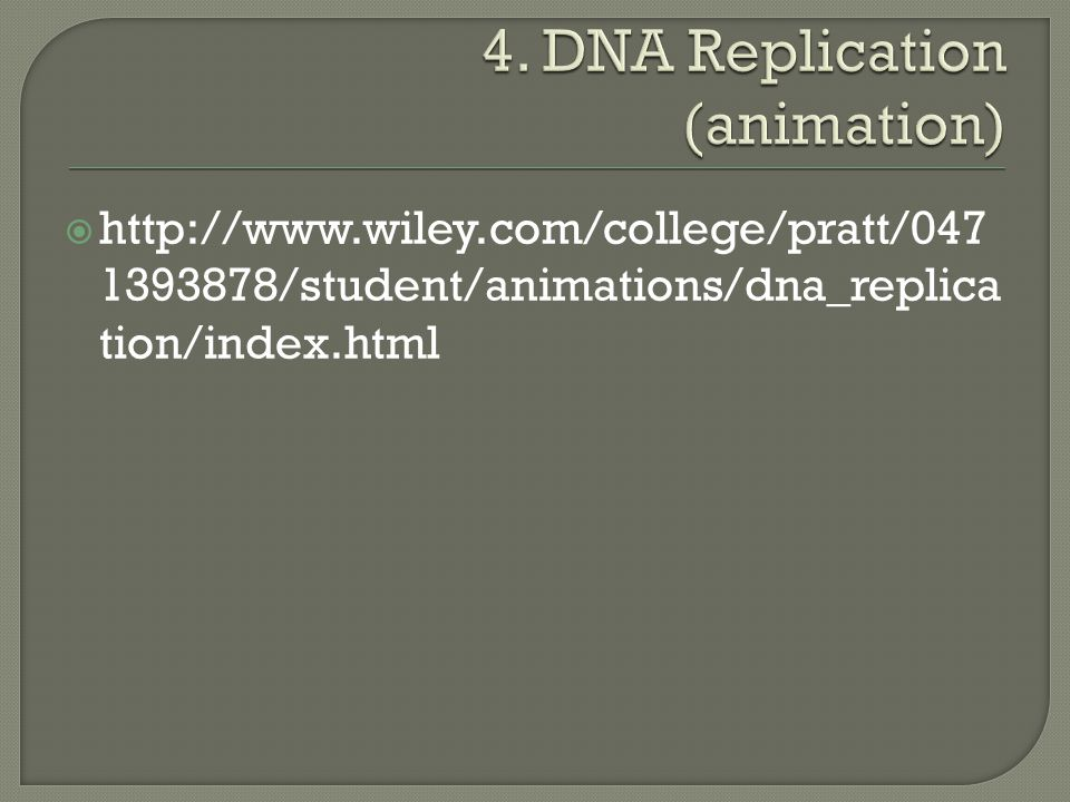  http://www.wiley.com/college/pratt/047 1393878/student/animations/dna_replica tion/index.html