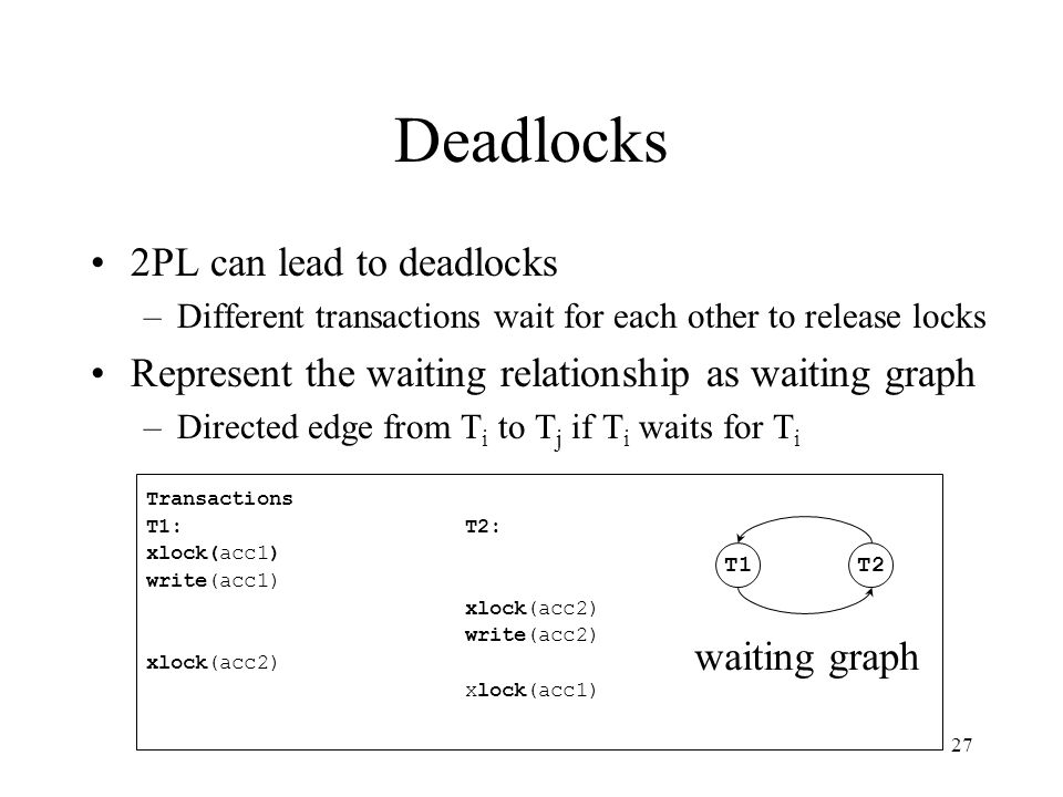 28 Resolving Deadlocks 2PL cannot avoid deadlocks If the waiting graph contains cycles –abort one of the transactions (e.g.
