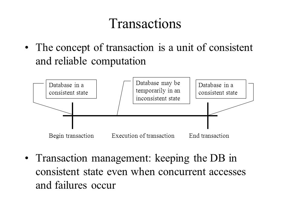 Transactions The concept of transaction is a unit of consistent and reliable computation Transaction management: keeping the DB in consistent state ev