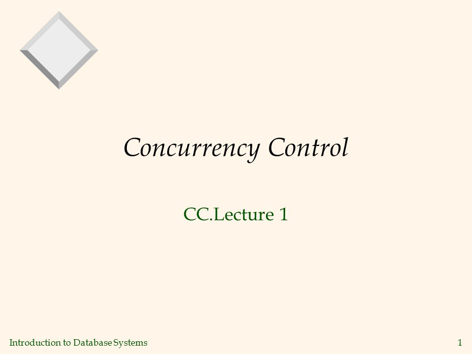 Introduction to Database Systems1 Concurrency Control CC.Lecture 1