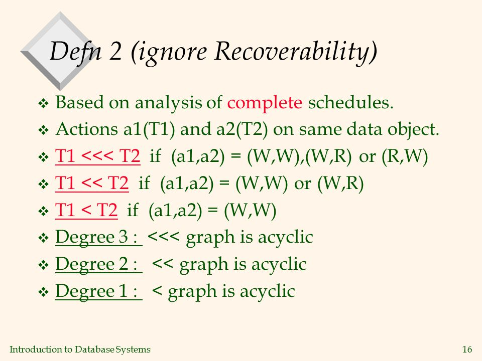 Introduction to Database Systems16 Defn 2 (ignore Recoverability) v Based on analysis of complete schedules.