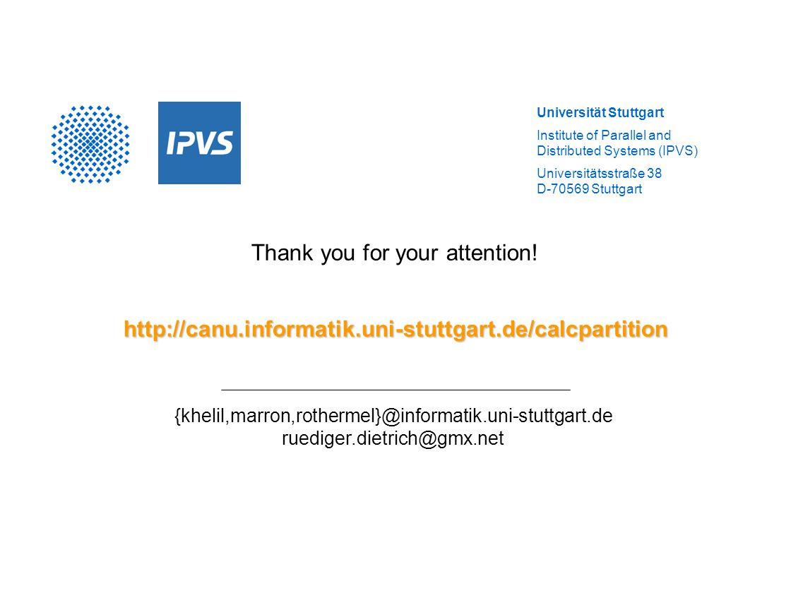 Universität Stuttgart Institute of Parallel and Distributed Systems (IPVS) Universitätsstraße 38 D-70569 Stuttgart Thank you for your attention!http:/