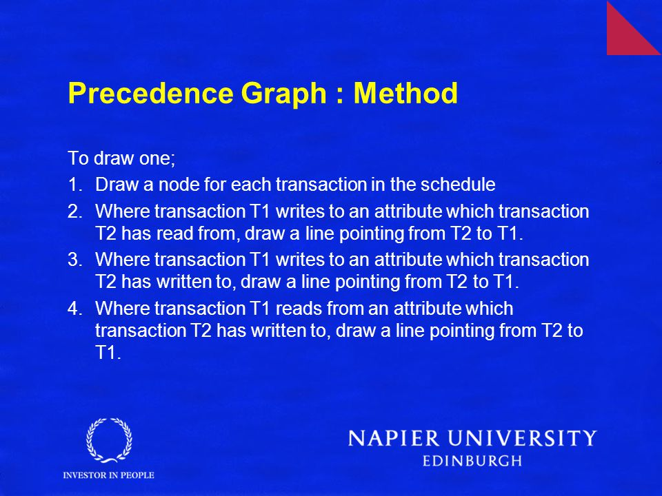 Precedence Graph : Method To draw one; 1.Draw a node for each transaction in the schedule 2.Where transaction T1 writes to an attribute which transaction T2 has read from, draw a line pointing from T2 to T1.