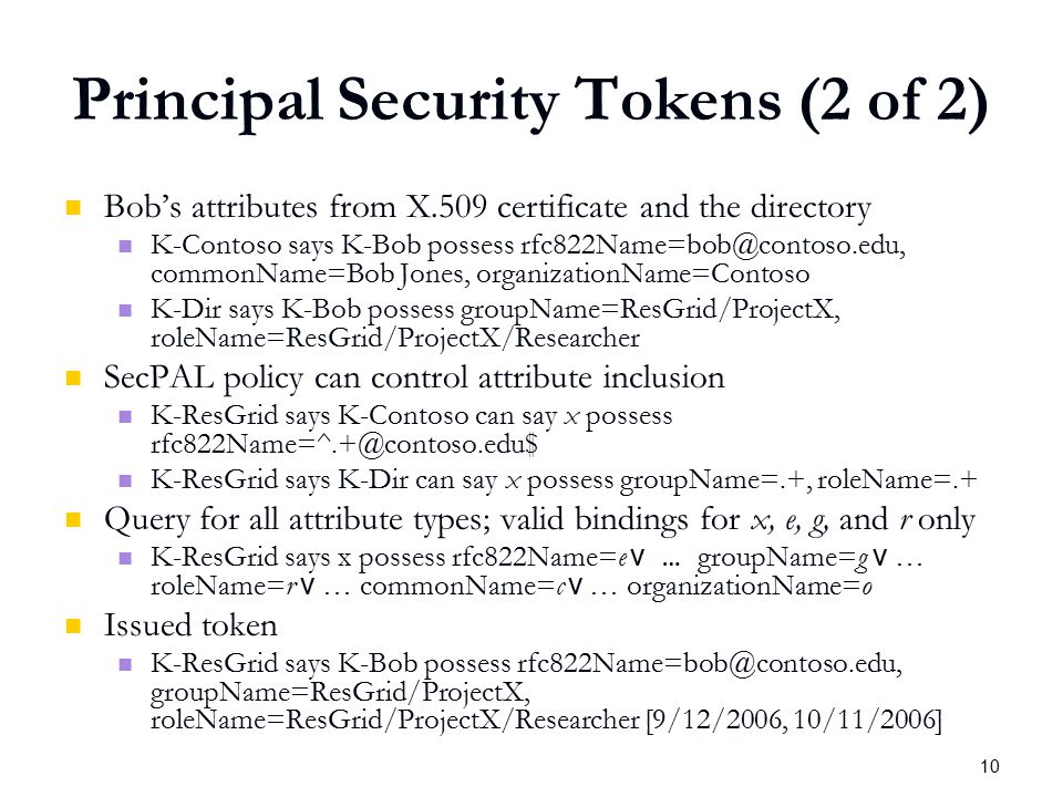 10 Principal Security Tokens (2 of 2) Bob's attributes from X.509 certificate and the directory K-Contoso says K-Bob possess rfc822Name=bob@contoso.edu, commonName=Bob Jones, organizationName=Contoso K-Dir says K-Bob possess groupName=ResGrid/ProjectX, roleName=ResGrid/ProjectX/Researcher SecPAL policy can control attribute inclusion K-ResGrid says K-Contoso can say x possess rfc822Name=^.+@contoso.edu$ K-ResGrid says K-Dir can say x possess groupName=.+, roleName=.+ Query for all attribute types; valid bindings for x, e, g, and r only K-ResGrid says x possess rfc822Name=e v … groupName=g v … roleName=r v … commonName=c v … organizationName=o Issued token K-ResGrid says K-Bob possess rfc822Name=bob@contoso.edu, groupName=ResGrid/ProjectX, roleName=ResGrid/ProjectX/Researcher [9/12/2006, 10/11/2006]