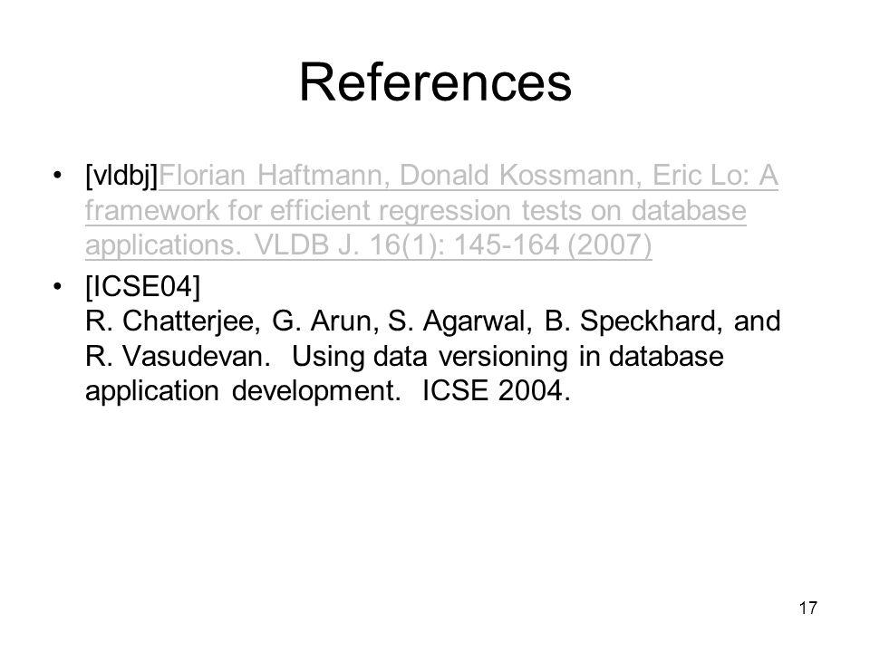 References [vldbj]Florian Haftmann, Donald Kossmann, Eric Lo: A framework for efficient regression tests on database applications.