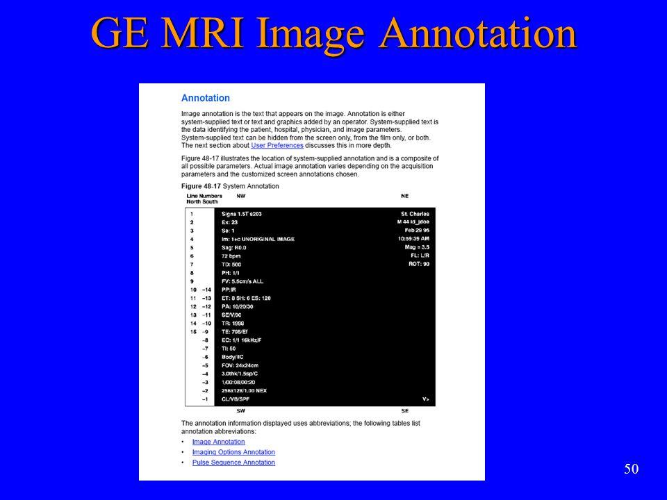 50 GE MRI Image Annotation