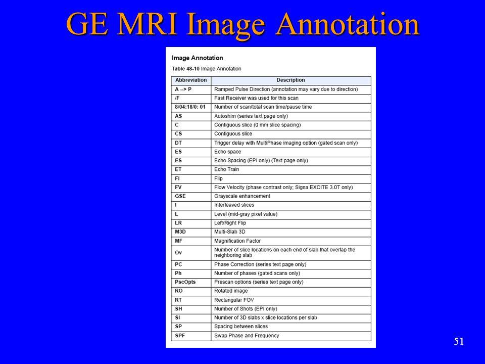 51 GE MRI Image Annotation
