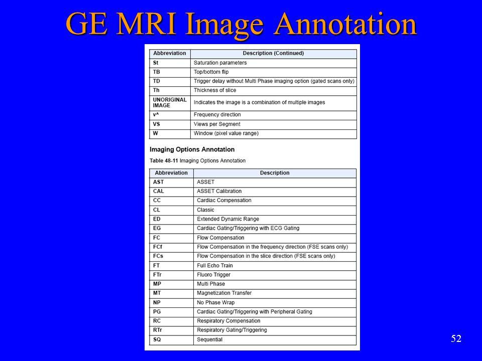 52 GE MRI Image Annotation