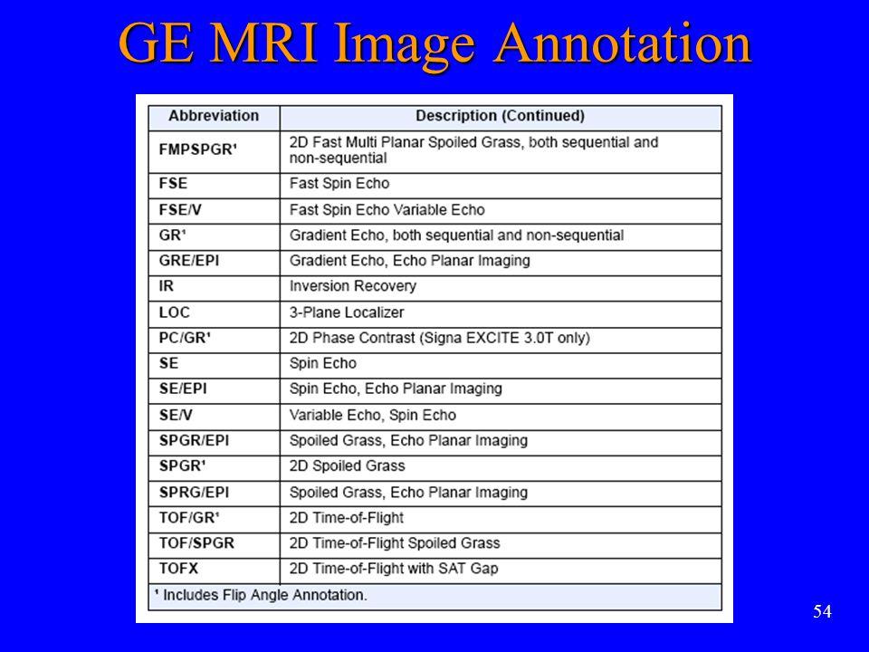 54 GE MRI Image Annotation