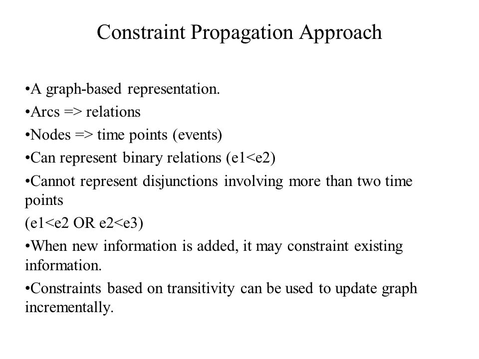 Constraint Propagation Approach A graph-based representation.