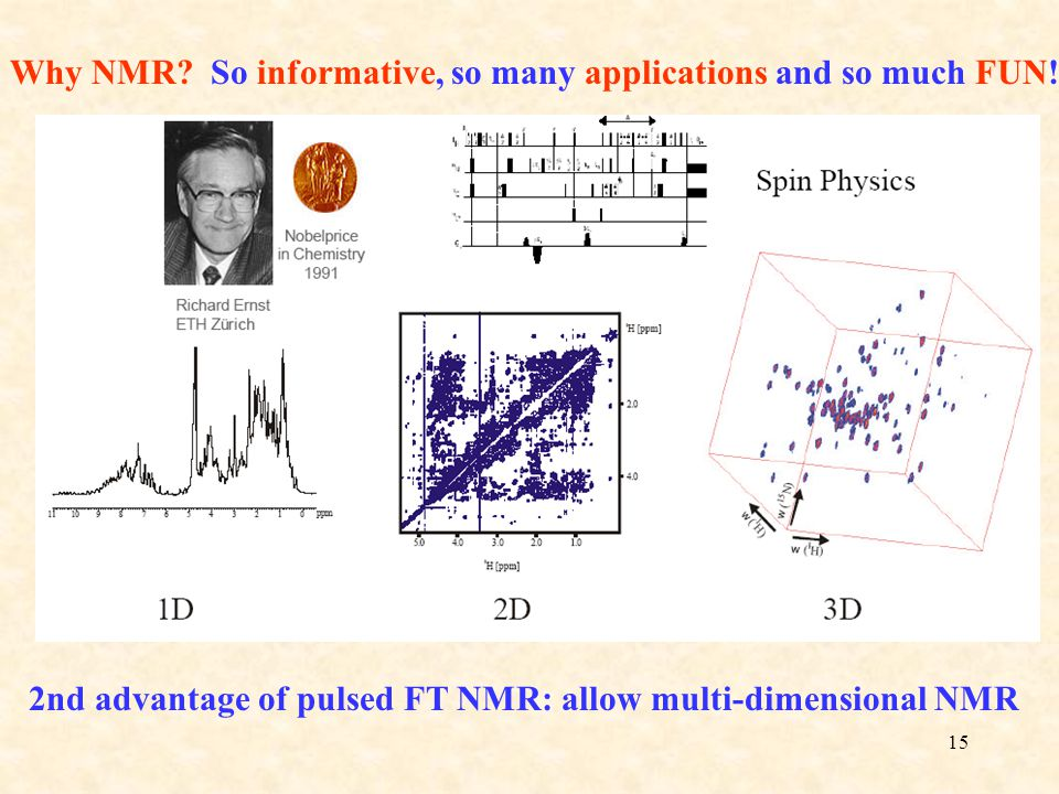 15 Why NMR? So informative, so many applications and so much FUN! 2nd advantage of pulsed FT NMR: allow multi-dimensional NMR