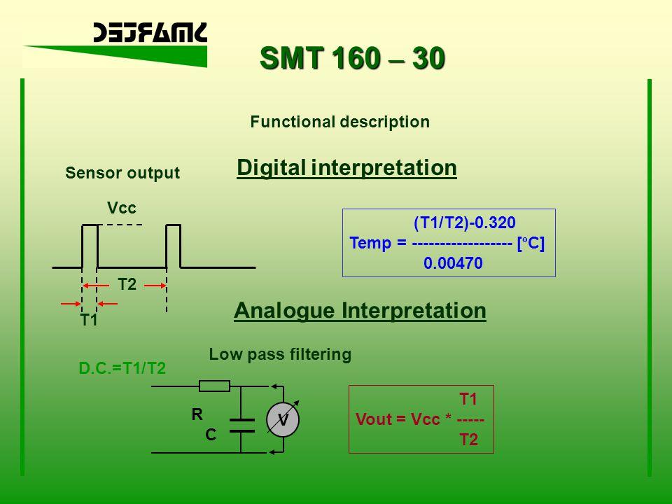 SMT 160 – 30 Functional description D.C.=T1/T2 T1 Sensor output T2 Vcc Digital interpretation Analogue Interpretation R C V Low pass filtering T1 Vout