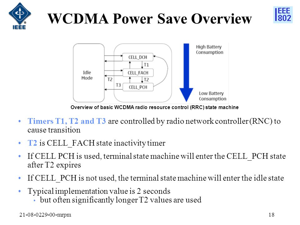 21-08-0229-00-mrpm18 WCDMA Power Save Overview Timers T1, T2 and T3 are controlled by radio network controller (RNC) to cause transition T2 is CELL_FA