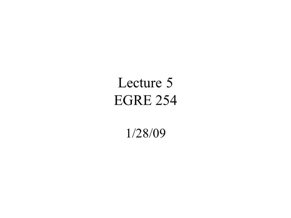 Lecture 5 EGRE 254 1/28/09