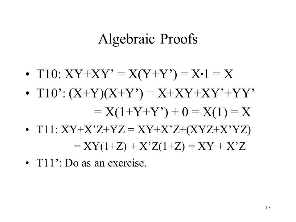 13 Algebraic Proofs T10: XY+XY' = X(Y+Y') = X  1 = X T10': (X+Y)(X+Y') = X+XY+XY'+YY' = X(1+Y+Y') + 0 = X(1) = X T11: XY+X'Z+YZ = XY+X'Z+(XYZ+X'YZ) = XY(1+Z) + X'Z(1+Z) = XY + X'Z T11': Do as an exercise.