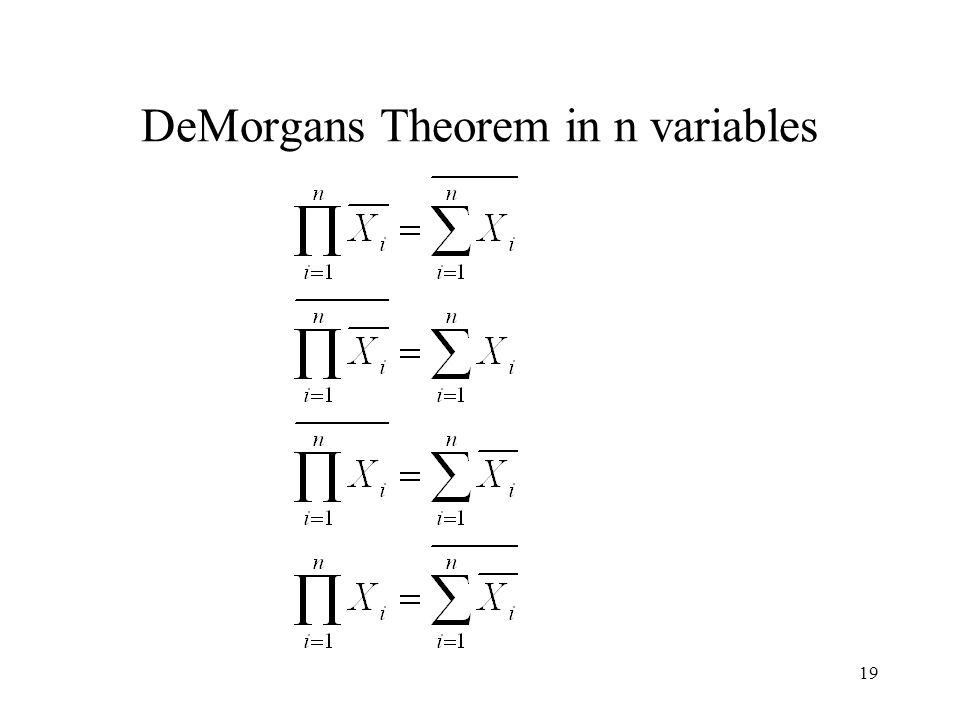 19 DeMorgans Theorem in n variables
