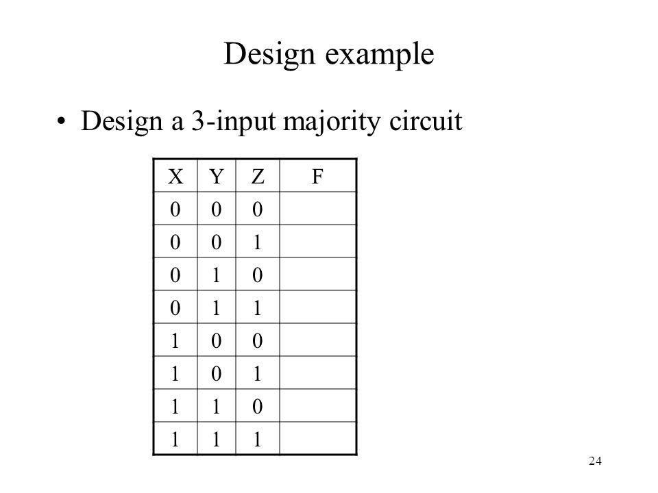 24 Design example Design a 3-input majority circuit XYZF 000 001 010 011 100 101 110 111