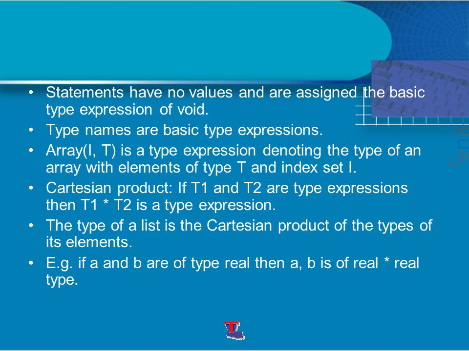 Statements have no values and are assigned the basic type expression of void. Type names are basic type expressions. Array(I, T) is a type expression