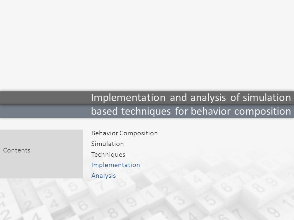 Behavior Composition Simulation Techniques Implementation Analysis Contents