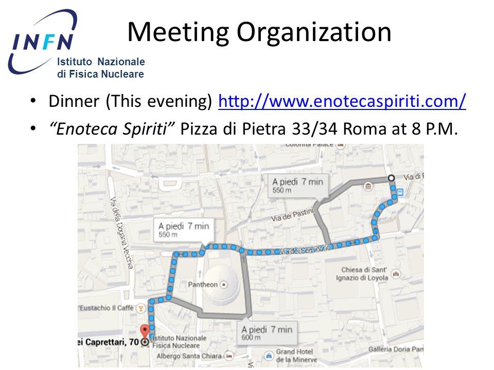 Dinner (This evening) http://www.enotecaspiriti.com/http://www.enotecaspiriti.com/ Enoteca Spiriti Pizza di Pietra 33/34 Roma at 8 P.M.