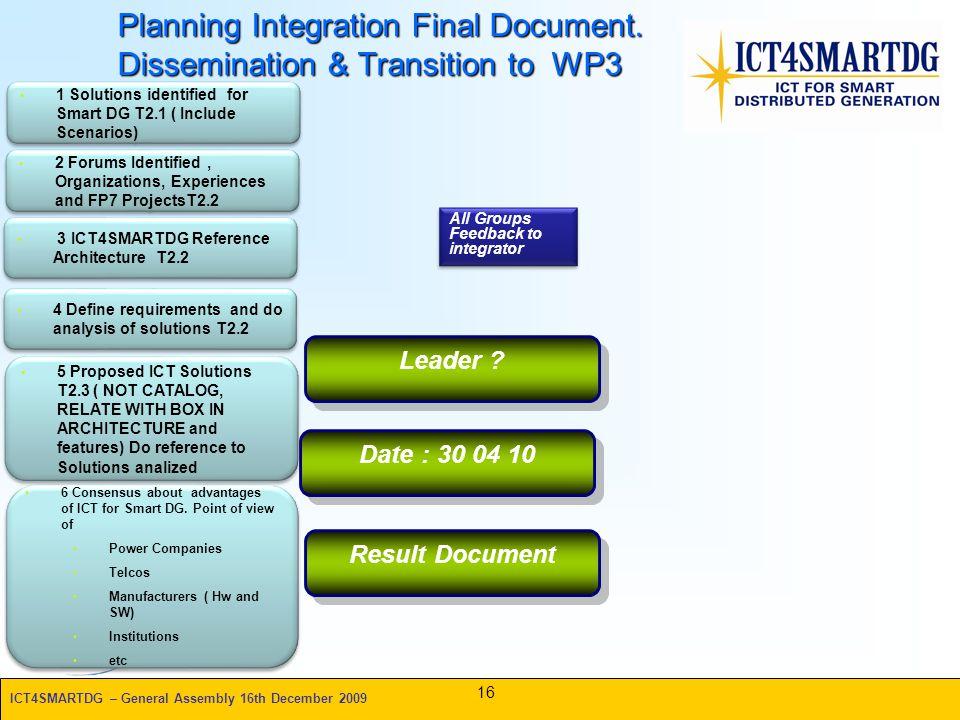 ICT4SMARTDG – General Assembly 16th December 2009 Planning Integration Final Document.