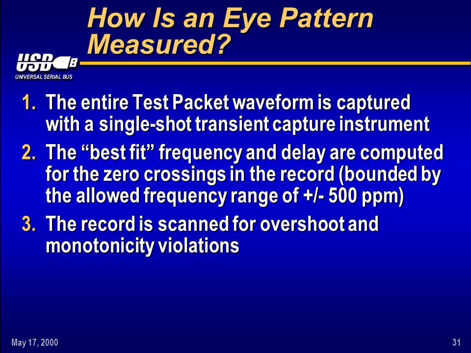 """May 17, 200031 How Is an Eye Pattern Measured? 1.The entire Test Packet waveform is captured with a single-shot transient capture instrument 2.The """"be"""