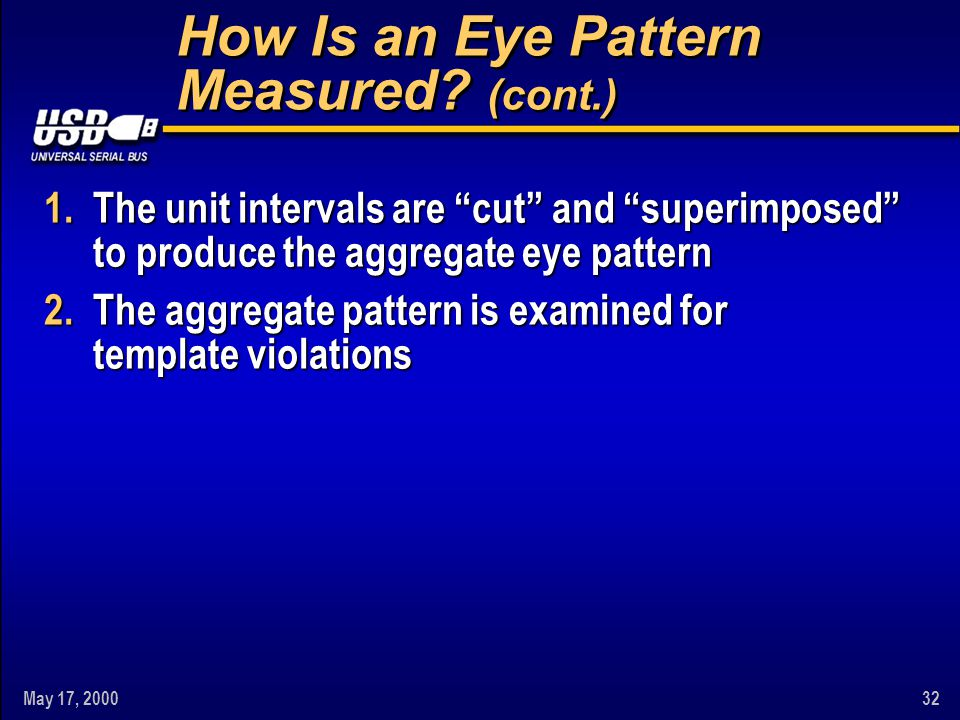 May 17, 200032 How Is an Eye Pattern Measured.