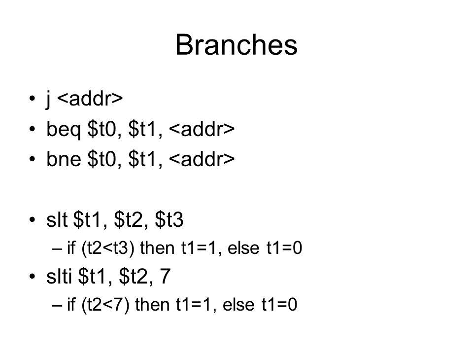 Branches j beq $t0, $t1, bne $t0, $t1, slt $t1, $t2, $t3 –if (t2<t3) then t1=1, else t1=0 slti $t1, $t2, 7 –if (t2<7) then t1=1, else t1=0