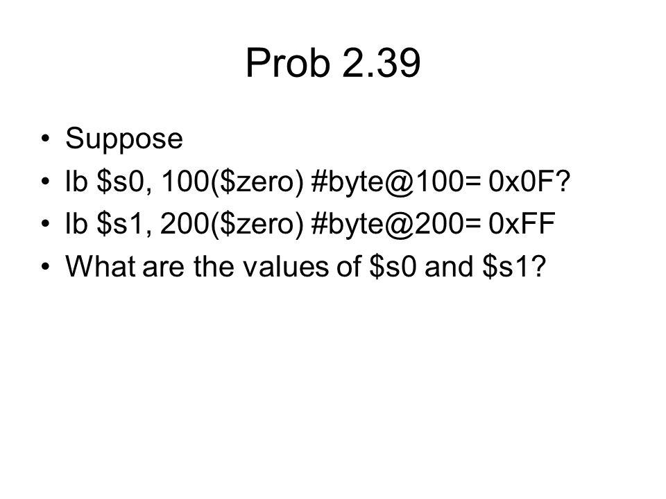 Prob 2.39 Suppose lb $s0, 100($zero) #byte@100= 0x0F.