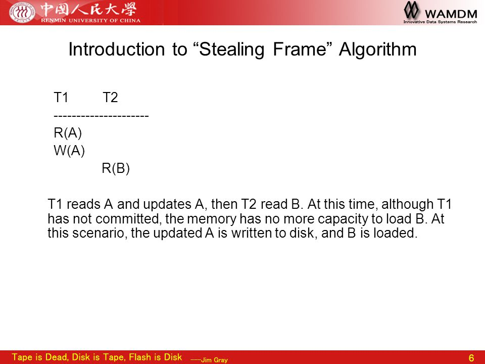 "6 Introduction to ""Stealing Frame"" Algorithm T1 T2 --------------------- R(A) W(A) R(B) T1 reads A and updates A, then T2 read B. At this time, althou"