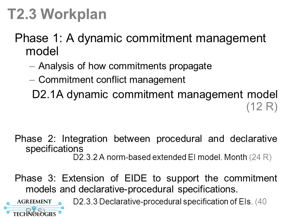 T2.3 Workplan Phase 1: A dynamic commitment management model –Analysis of how commitments propagate –Commitment conflict management D2.1A dynamic commitment management model (12 R) Phase 2: Integration between procedural and declarative specifications D2.3.2 A norm-based extended EI model.