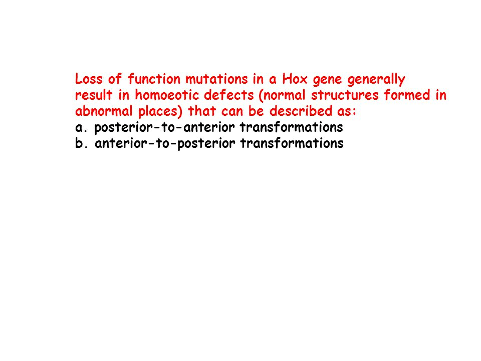 Loss of function mutations in a Hox gene generally result in homoeotic defects (normal structures formed in abnormal places) that can be described as: a.