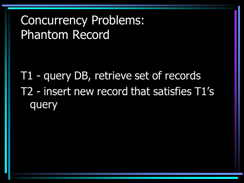 Concurrency Problems: Phantom Record T1 - query DB, retrieve set of records T2 - insert new record that satisfies T1's query