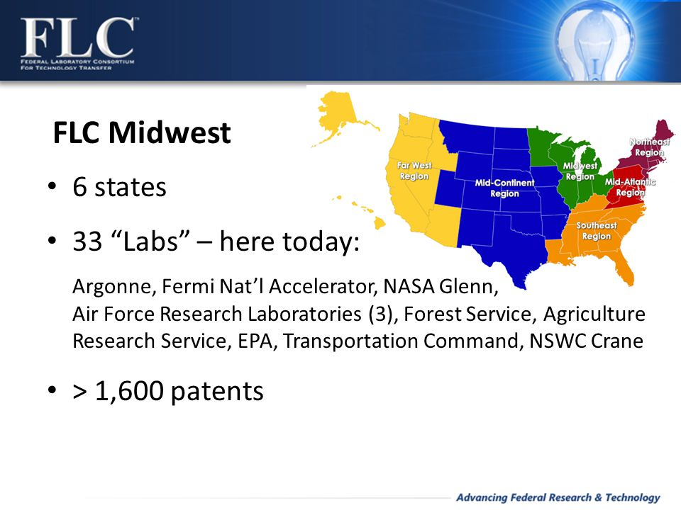 FLC Midwest 6 states 33 Labs – here today: Argonne, Fermi Nat'l Accelerator, NASA Glenn, Air Force Research Laboratories (3), Forest Service, Agriculture Research Service, EPA, Transportation Command, NSWC Crane > 1,600 patents