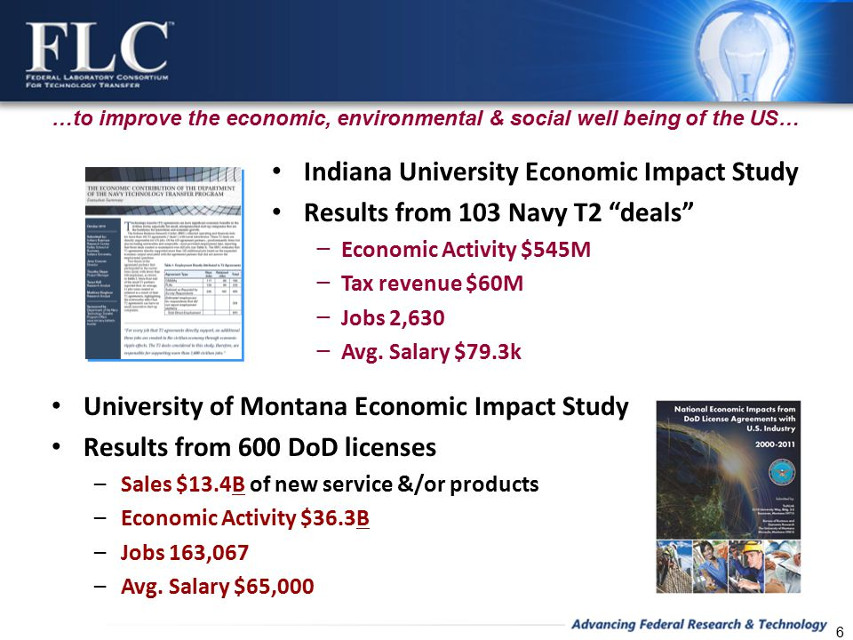 Indiana University Economic Impact Study Results from 103 Navy T2 deals − Economic Activity $545M − Tax revenue $60M − Jobs 2,630 − Avg.