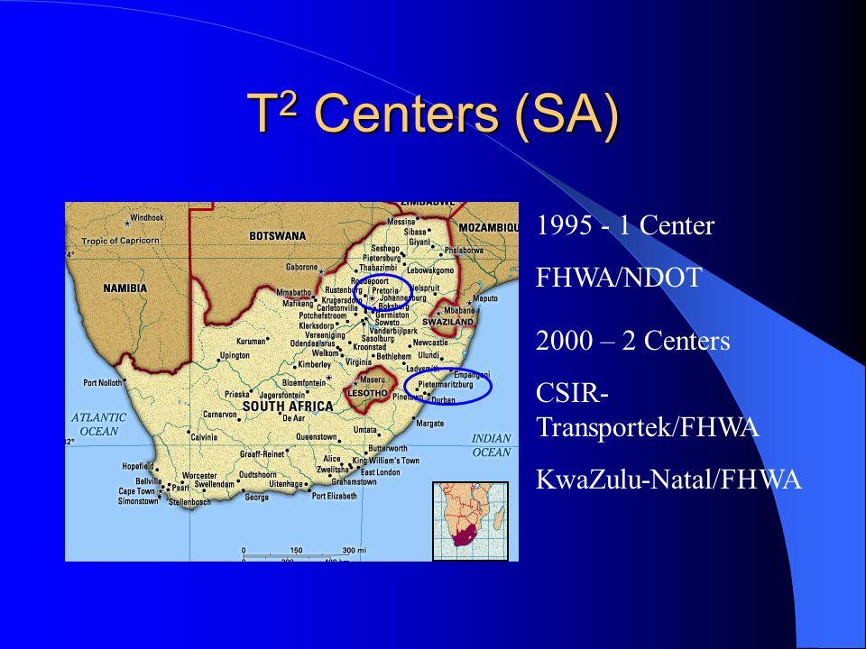 T 2 Centers (SA) 1995 - 1 Center FHWA/NDOT 2000 – 2 Centers CSIR- Transportek/FHWA KwaZulu-Natal/FHWA